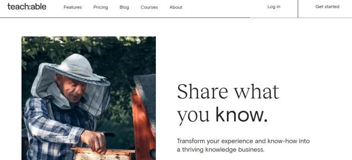 Teachable online course platform