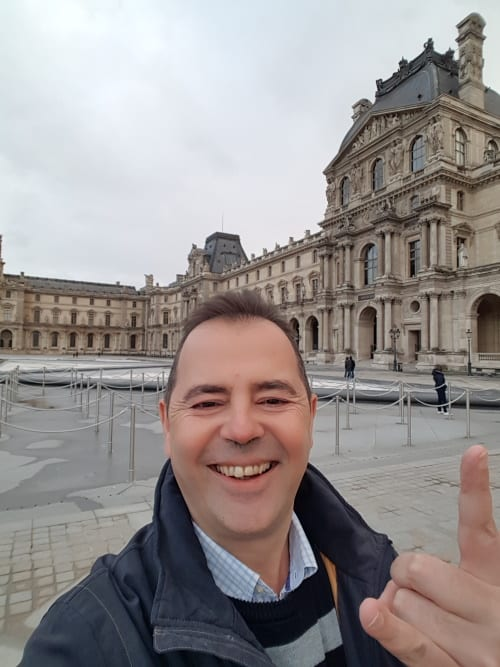 In front of the Louvre museum in Paris