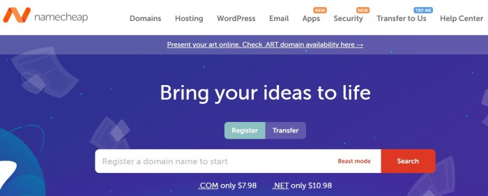 Namecheap domain name registrar