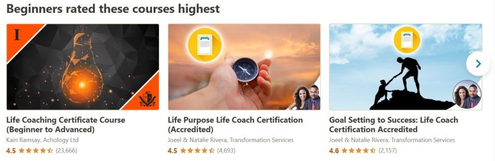 Udemy courses for online life coach